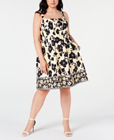 Vince Camuto Trendy Plus Size Printed Fit & Flare Dress