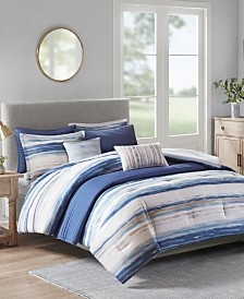 Madison Park Marina 8-Pc. Printed Seersucker Comforter and Coverlet Set Collection