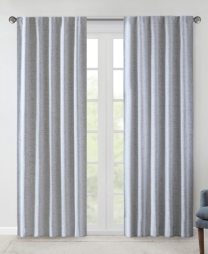 """Image of 38""""x63"""" Sable Woven Heathered Blackout Curtain Panel Pair Blue"""