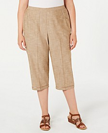 Plus Size Santa Fe Embellished-Hem Cropped Pants