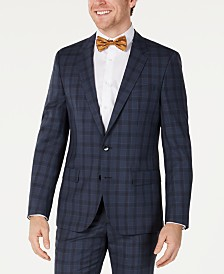 HUGO Hugo Boss Men's Slim-Fit Blue Glen Plaid Suit Jacket