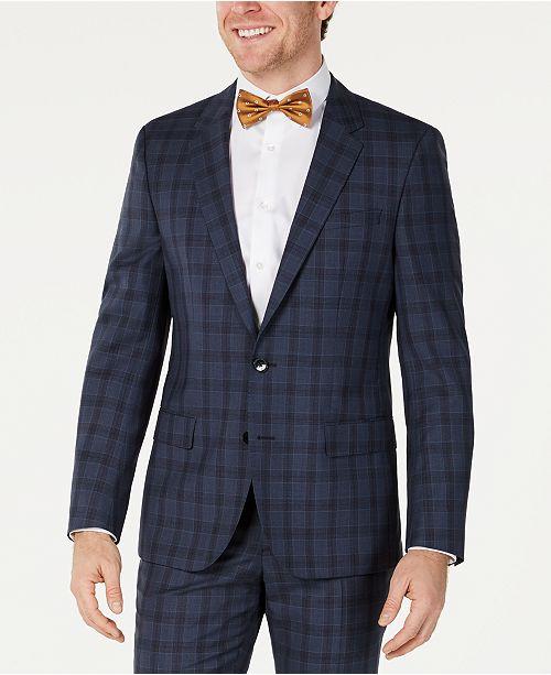 HUGO HUGO Hugo Boss Men's Slim-Fit Blue Glen Plaid Suit Jacket