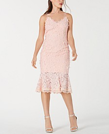Floral-Appliqué Lace Sheath Dress