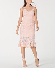 Floral-Appliqué Lace Sheath Dress