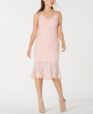 Image of Aidan by Aidan Mattox Floral-Applique Lace Sheath Dress