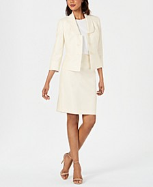 Diamond-Texture Three-Button Skirt Suit