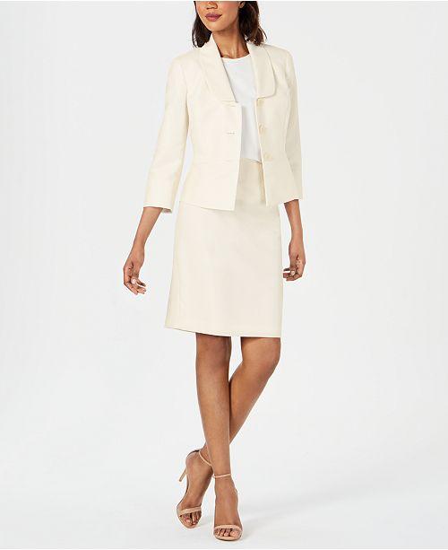 Le Suit Diamond-Texture Three-Button Skirt Suit