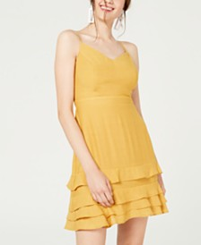 City Studios Juniors' Tie-Back Tiered Dress
