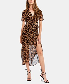 Animal-Print Wrap Dress