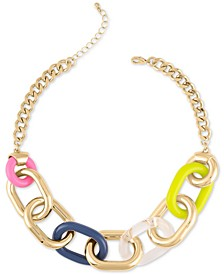 """Gold-Tone & Acrylic Large-Link Collar Necklace, 18"""" + 2"""" extender"""