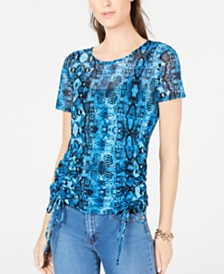 I.N.C. Ruched Tie Snake Print Top, Created for Macy's