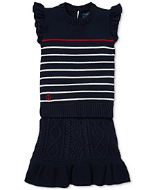 Toddler Girls Striped Cotton Sweater & Skirt Set