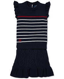 Polo Ralph Lauren Little Girls Striped Cotton Sweater & Skirt Set