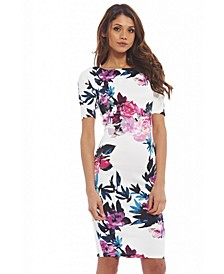 Short Sleeved Floral Midi Dress
