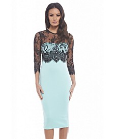 Lace Top Bodycon Midi Colordress