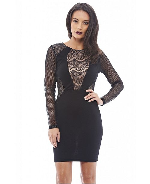 bd9b83f590b Lace and Mesh Insert Bodycon/Dress
