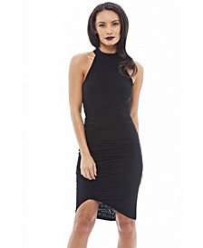 High Necked Ruche Detail Dress
