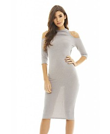AX Paris Cut Out Ribbed Knit Dress