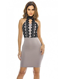 AX Paris High Neck Lace Front Bodycon Mini Dress