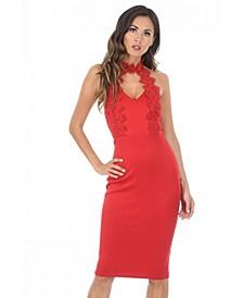 Blush Halter neck Choker Dress with Lace Detail
