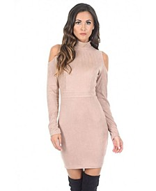 High Neck Cold Shoulder Faux Suede Mini Dress
