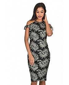 and Wine Embroidered Frill Midi Dress