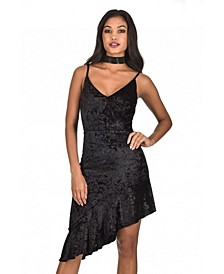 Crushed Velvet Bottom Frill Dress