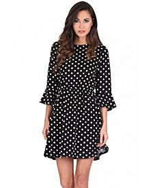 Polka Dot Long Sleeve Skater Dress