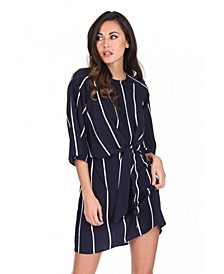Striped Tie Waist Mini Dress