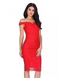 Lace Bardot Midi Dress