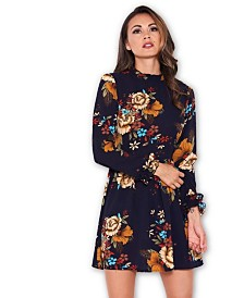 AX Paris Floral Long Sleeved Frill Detail Dress