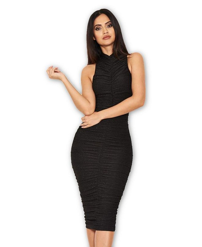 AX Paris Ruched Midi Dress with High Neck