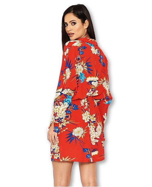 f3f05defd7fef2 AX Paris Floral Print Tie Waist Shirt Dress & Reviews - Dresses ...