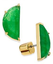 Gold-Tone Green Stone Half-Circle Stud Earrings
