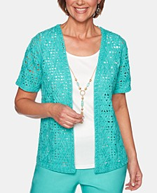 Petite Coastal Drive Cotton Layered-Look Necklace Top