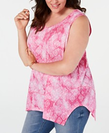 Style & Co Plus Size Printed Vented-Hem Top, Created for Macy's