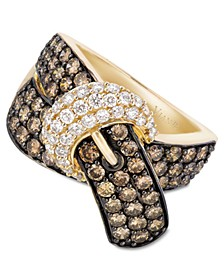 Chocolate Diamond (2-1/6 ct. t.w.) and White Diamond (3/8 ct. t.w.) Buckle Ring in 14k Gold
