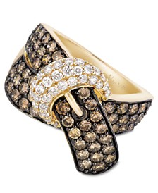 Le Vian Chocolate Diamond (2-1/6 ct. t.w.) and White Diamond (3/8 ct. t.w.) Buckle Ring in 14k Gold