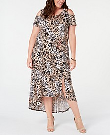 Plus and Petite Plus Size Printed Cold-Shoulder Maxi Dress