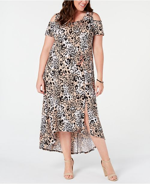 NY Collection Plus and Petite Plus Size Printed Cold-Shoulder Maxi Dress