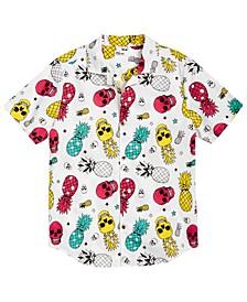 Little Boys Pineapple Skull Poplin Shirt, Created for Macy's
