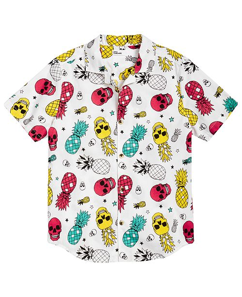Epic Threads Little Boys Pineapple Skull Poplin Shirt, Created for Macy's