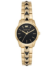 Michael Kors Womens Petite Runway Mercer Gold-Tone Stainless Steel Bracelet Watch 28mm MK6672