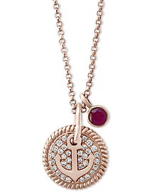 """EFFY® Certified Ruby (1/8 ct. t.w.) & Diamond (1/10 ct. t.w.) Anchor 18"""" Pendant Necklace in 14k Rose Gold"""