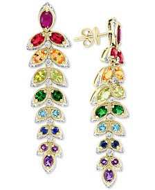EFFY® Multi-Sapphire (4-3/4 ct. t.w.) & Diamond (1/3 ct. t.w.) Drop Earrings in 14k Gold
