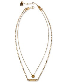 "Laundry by Shelli Segal Gold-Tone Crystal Double Row Pendant Necklace, 18"" + 2"" extender"