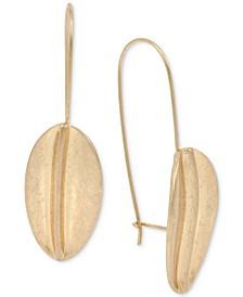 Gold-Tone Sculptured Leaf Drop Earrings