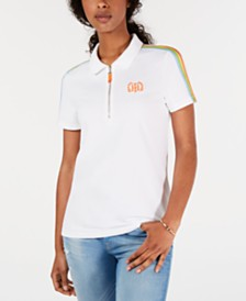 Tommy Hilfiger Rainbow-Stripe Polo Top, Created for Macy's
