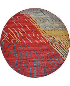 Ojas Oja1 Red 6' x 6' Round Area Rug