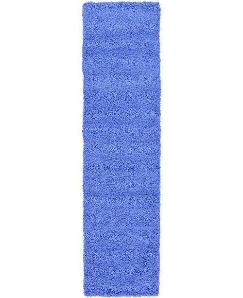 "Bridgeport Home Exact Shag Exs1 Periwinkle Blue 2' 6"" x 10' Runner Area Rug"